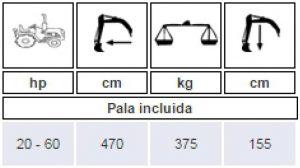 Ficha de la excavadora BMH2000 para minitractor Kubota